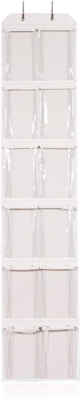 Over the Door Shoe Organizer with 12 Large Clear Pockets and 2 Metal Hooks Hanging Holder for Narrow Closet Door