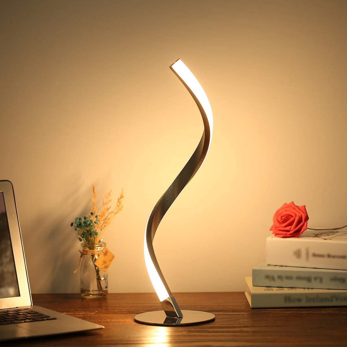 Tomshine Spiral LED Table Lamp 6W 3000k Minimalist Desk Lamp Aluminum Alloy Acrylic Non-dimmable 1.5m Cable Bedside Nightstand Lamps for Bedroom Office Warm White