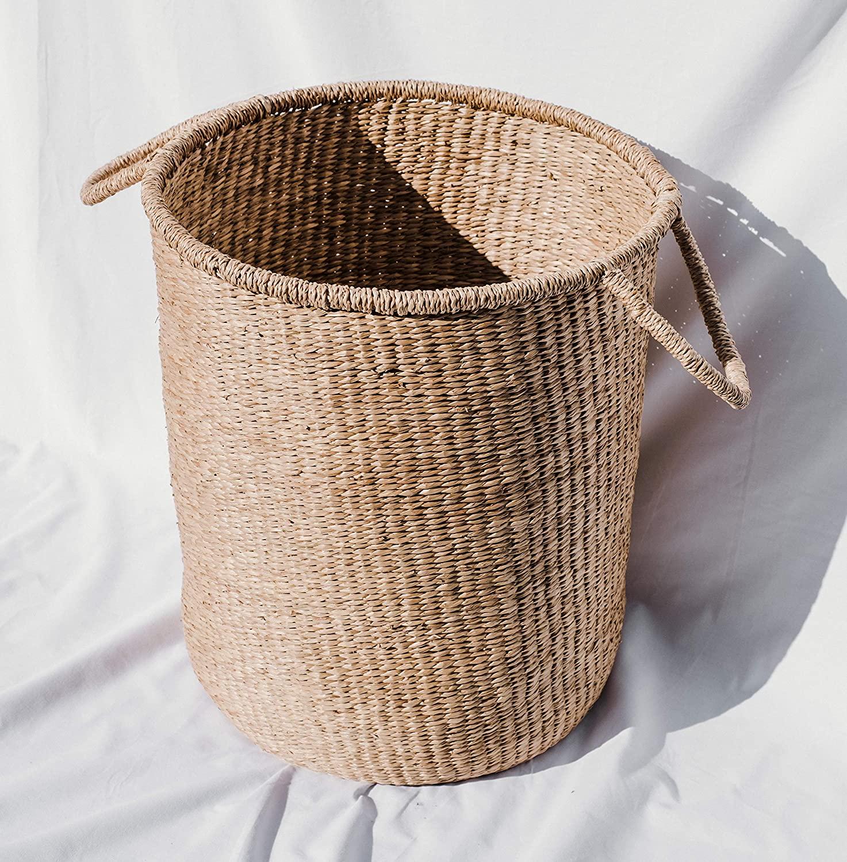 The Jolie Market Cannes Storage Basket- Seagrass Wicker Round Storage Basket with Handles- Home Decor, Storage, Housewarming Gift, 100% Eco-Friendly