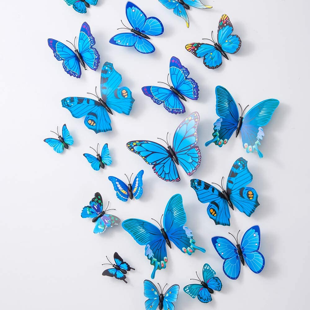 36PCS Butterfly Wall Decals - 3D Butterflies Decor for Wall Sticker Removable Mural Stickers Home Decoration Kids Room Bedroom Decor (Blue)