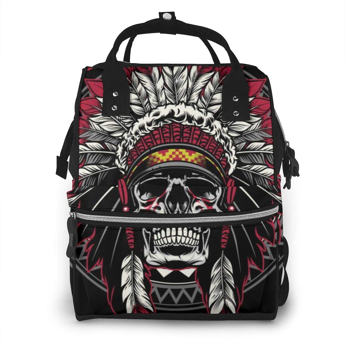 Skull of Native American Diaper Bag Mom Dad Travel Backpack Multifunction Waterproof Canvas Large Capacity Baby Bag Maternity Nappy Bags for Baby Care