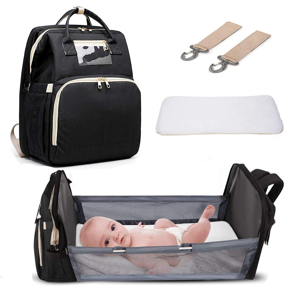 3 in 1 Travel Foldable Baby Bed Backpack Diaper Bag Waterproof Portable Diaper Changing Station, Large Capacity Mommy Bag