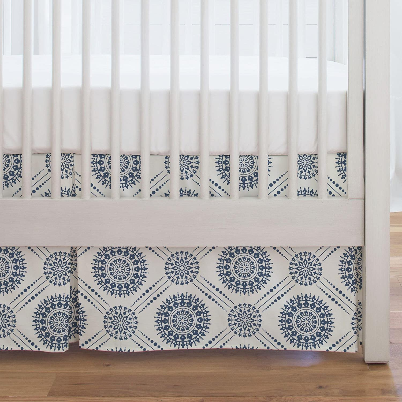 Carousel Designs Denim Modern Medallion Crib Skirt Single-Pleat 17-Inch Length - Organic 100% Cotton Crib Skirt - Made in The USA