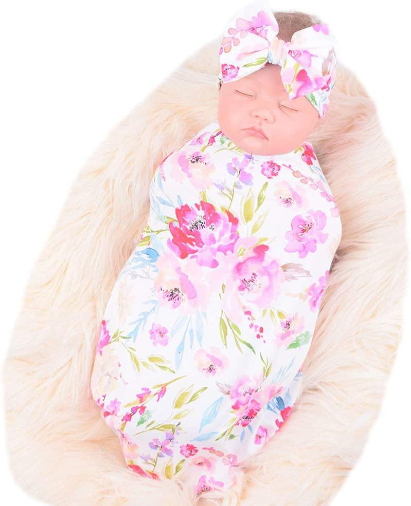 Bucaum Newborn Receiving Blanket Headband Set Flower Print Baby Swaddle Receiving Blankets (White Bamboo)