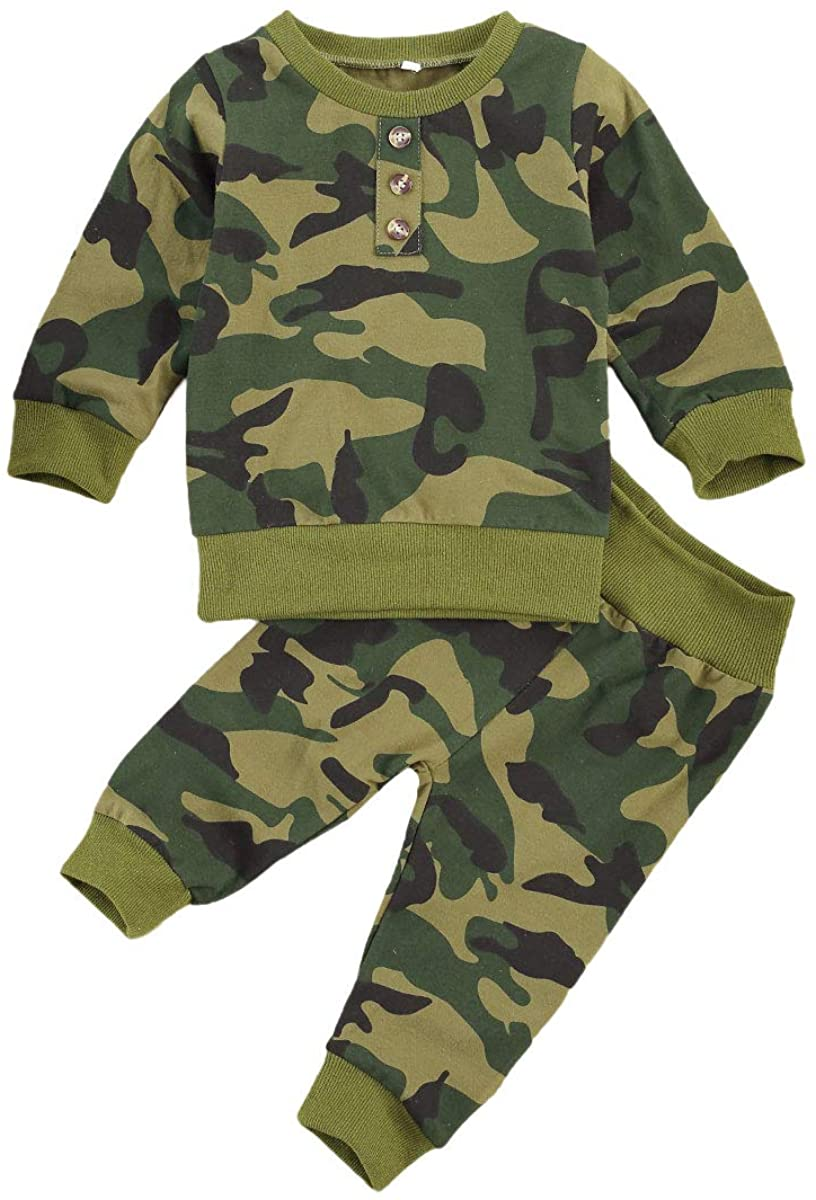 Newborn Baby Girl Boy Camouflage Clothes Long Sleeve Pullover Sweatshirt Top+Camo Pants 2PCS Fall Winter Outfit Set