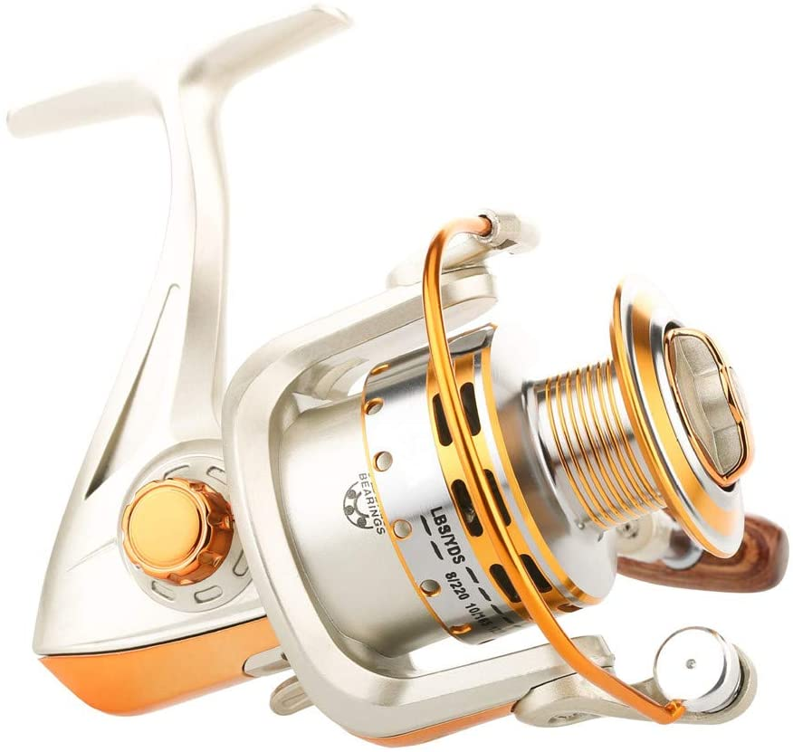 SHTONE Smooth Operation Spinning Fishing Reel, Ultralight and Powerful Spinning Reels with Left/Right Interchangeable Collapsible Wooden Handle