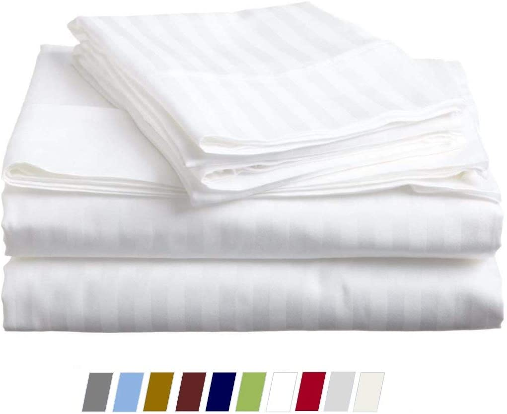 Cal-King Sheet Set (4 Piece) - Egyptian Cotton Sheets Sets - Soft-Breathable Sheets - Fits Mattress Upto 18 Inch Deep Pocket - 600 Thread-Count Bed Sheet Set - White Stripe, Cal-King