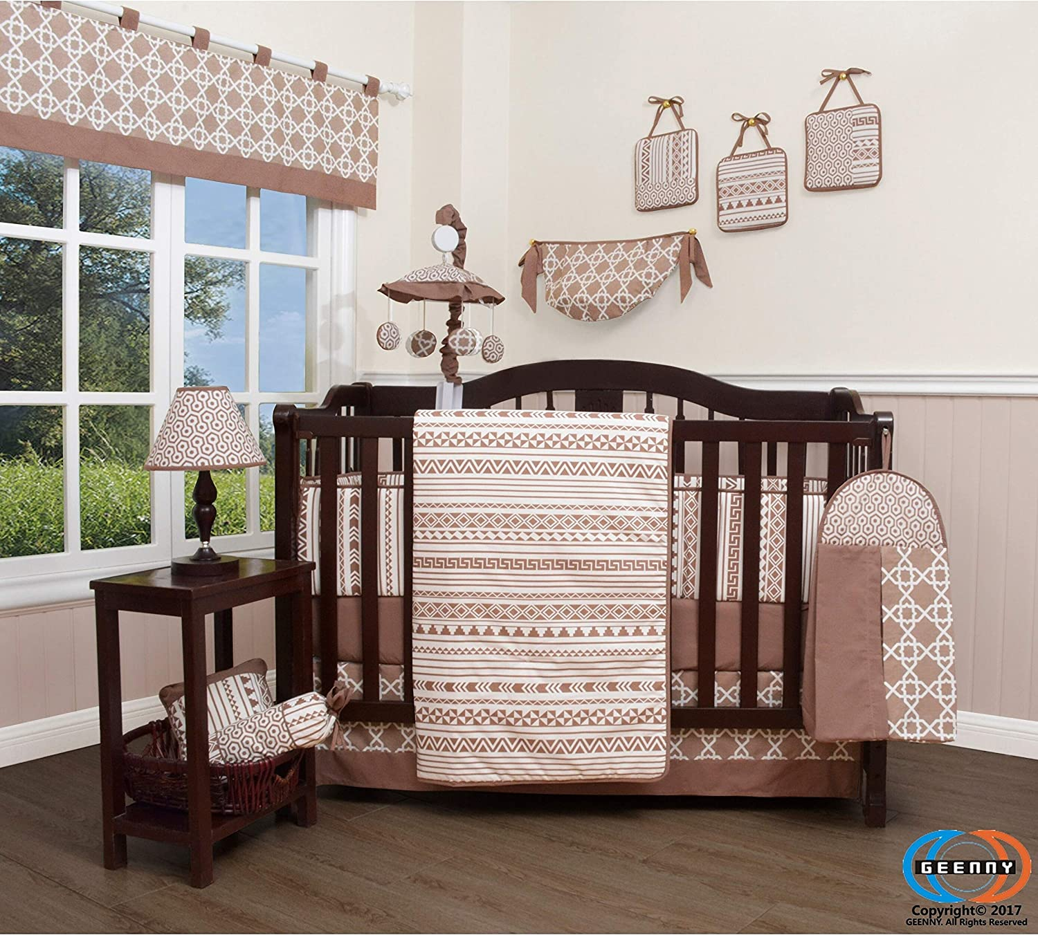 Brown Geometry 13 Piece Baby Nursery Crib Bedding Set Multi Color Embroidered Neutral Basic Cotton Blend 6