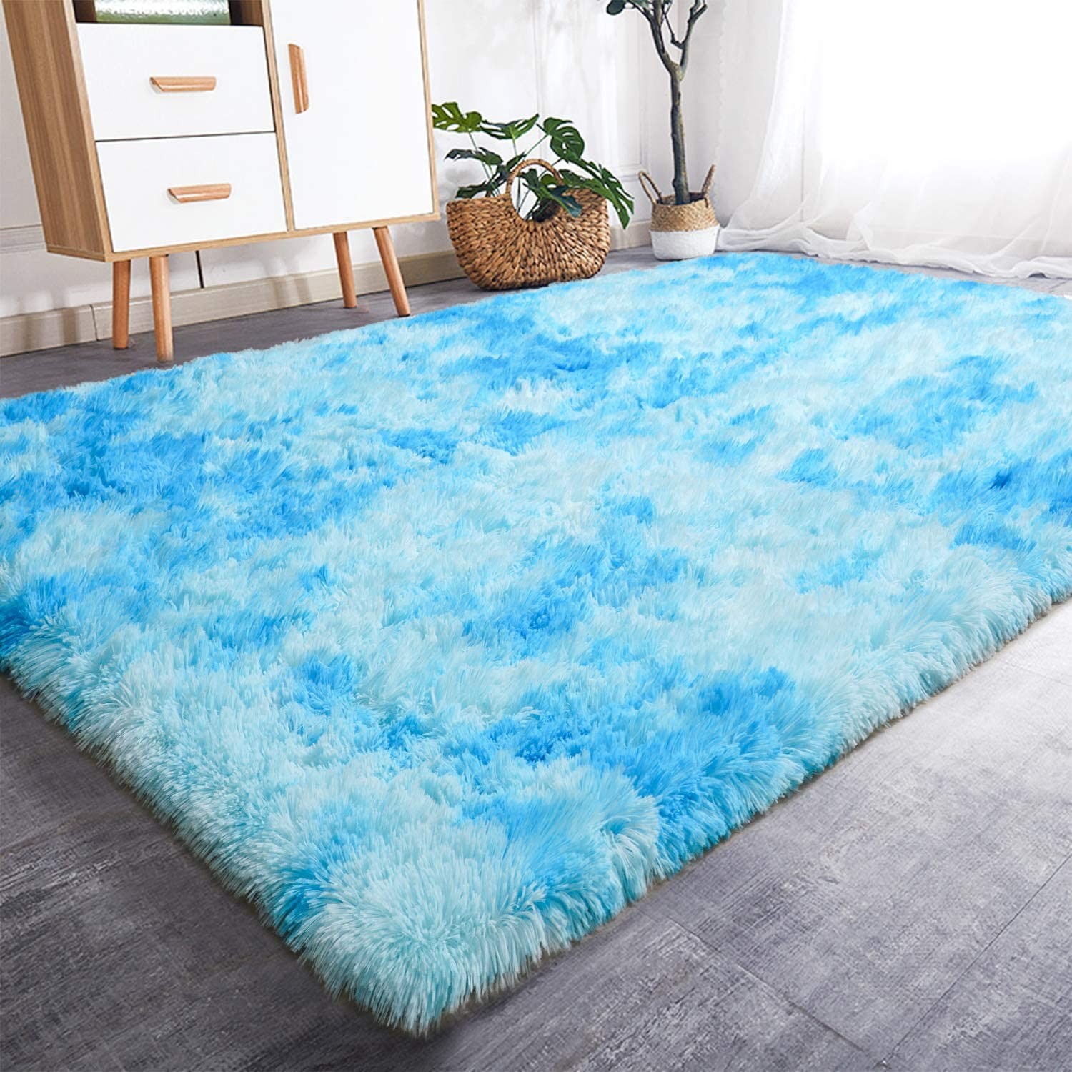 Rostyle Luxury Fluffy Area Rugs Shag Indoor Nursery Rug for Boys Girls Extra Soft Fuzzy Kids Bedroom Carpets Plush Living Room Home Decorate Area Rugs, 5 ft x 8 ft, Sky Blue