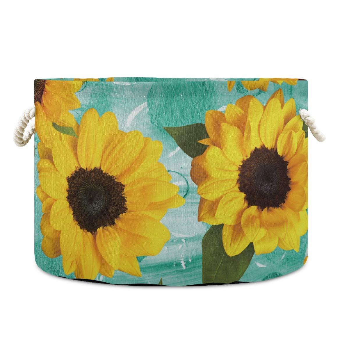 Canvas Storage Bins Sunflower Flora Toy Hamper Round Organizer Basket Laundry Nursery Hamper Storage Basket with Handle 2020102