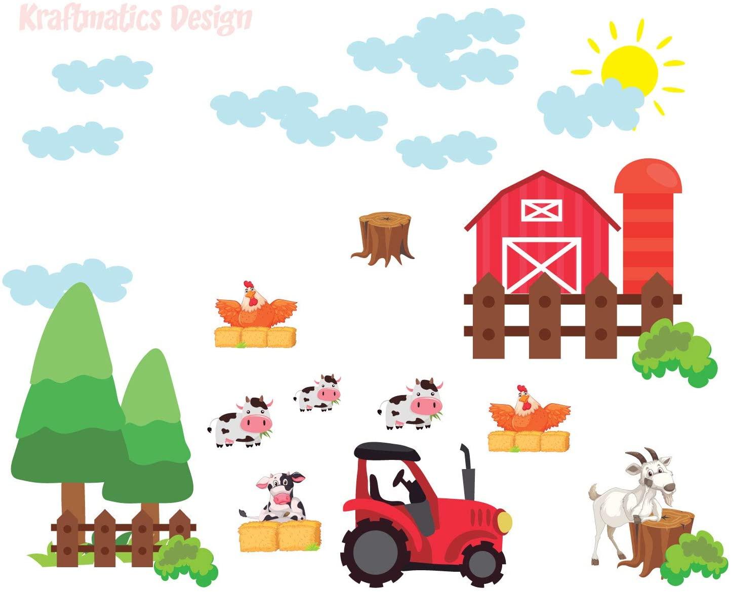 Big Farm Barn & Animals Nursery Baby Boy Wall Decal Vinyl Sticker for Kids Home Décor by Kraftmatics Design (Small W 50 x H 40)