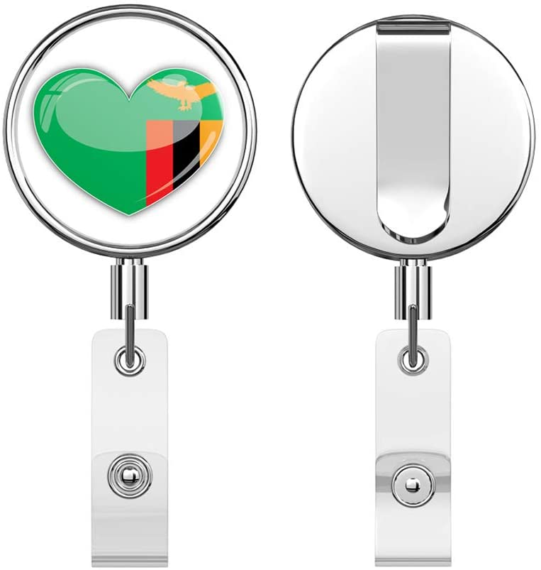 Zambia Flag Heart Round ID Badge Key Card Tag Holder Badge Retractable Reel Badge Holder with Belt Clip
