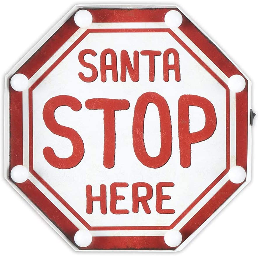 EMAX HOME Marquee Light Up Santa Stop Here Sign for Christmas,Vintage Christmas Wall Decor Sign with LED Light,Antique Christmas Ornaments 12