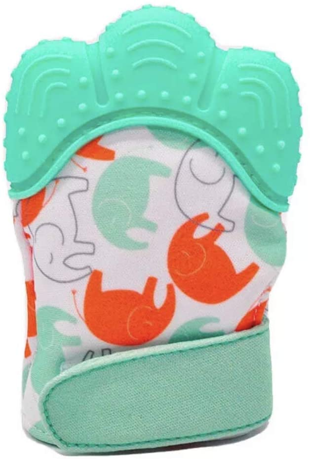The Parent Company Silicone Teething Mitten – Soothing Teething Mitten for Infants with an Adjustable Strap, Crinkle Sound and Silicone Textured Top to Soothe Swollen Sore Gums (Green)