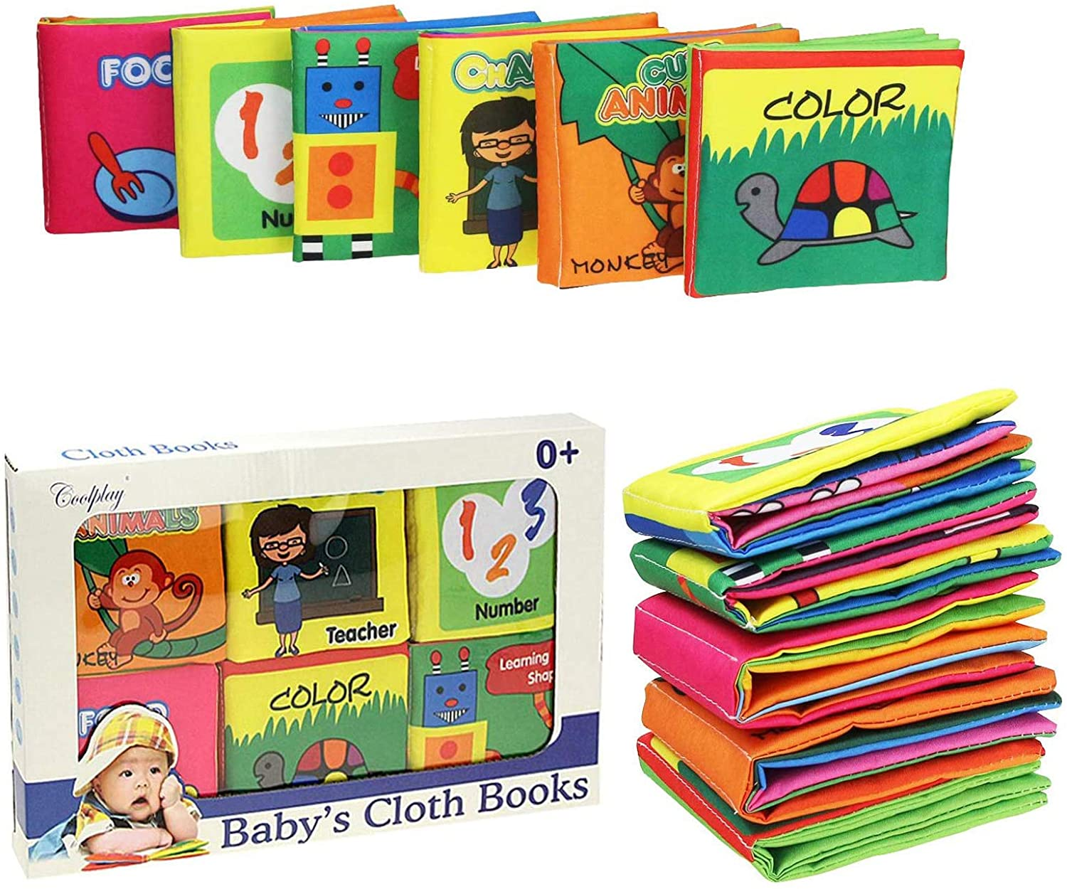 Coolplay Infant Touch and Feel Soft Cloth Book Set for 0-6 Months Squeak, Rattle, Crinkle - Pack of 6