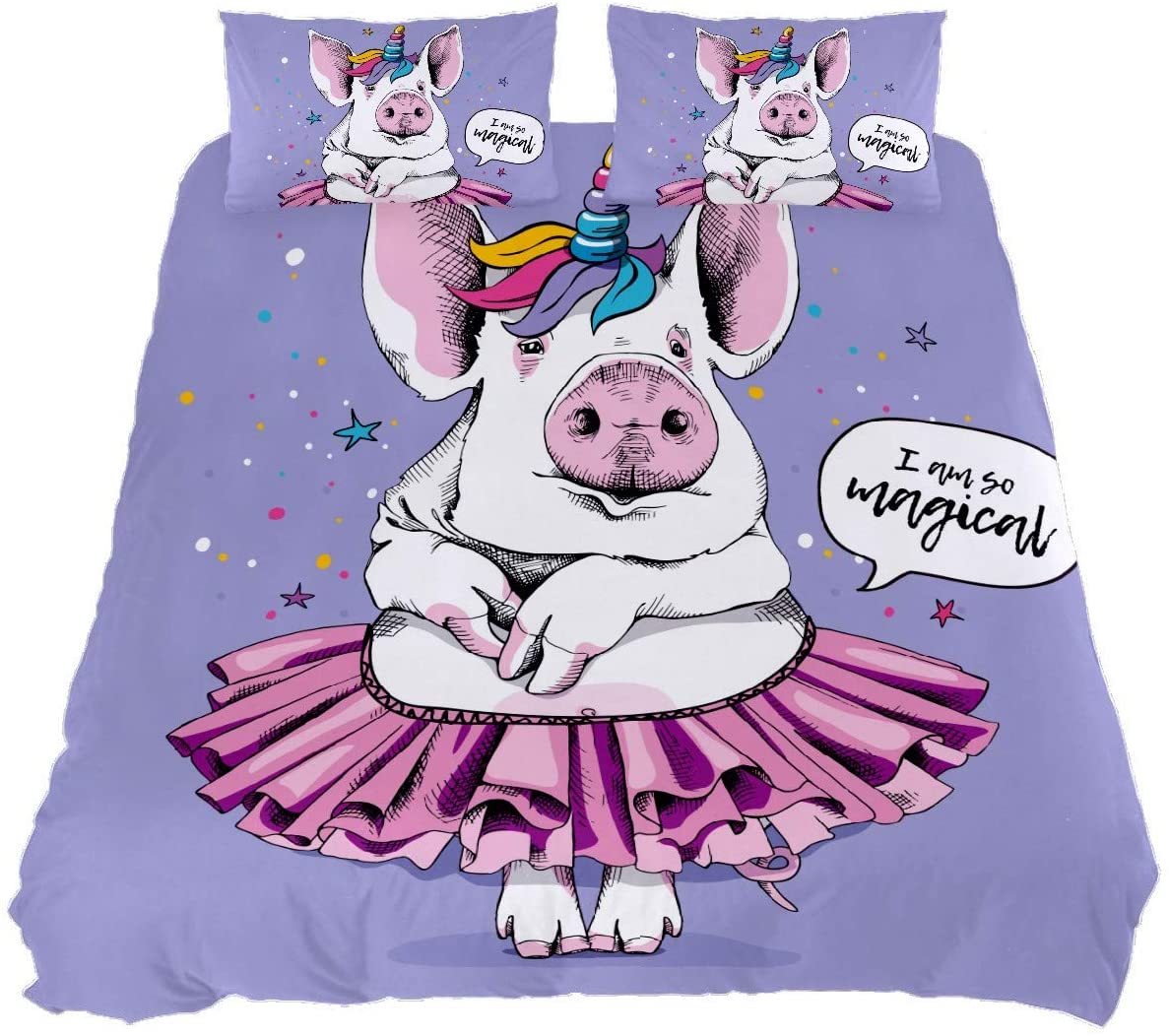 N\O Unicorn Comforter Set 3 Piece Queen Bedding Set Cute Pig Tutu Stars Fade Resistant Duvet Cover Set Soft Lightweight Home Decor for Bedroom Girls Boys Kid's Room with 2 Pillowcases