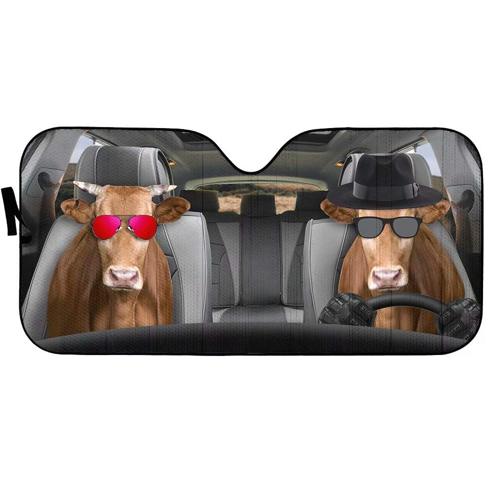 Cow Driver Auto Car Sun Shade Animal Front Window Windshield Sunshade Cattle Block Sun Glare for Car SUV Truck UV Rays