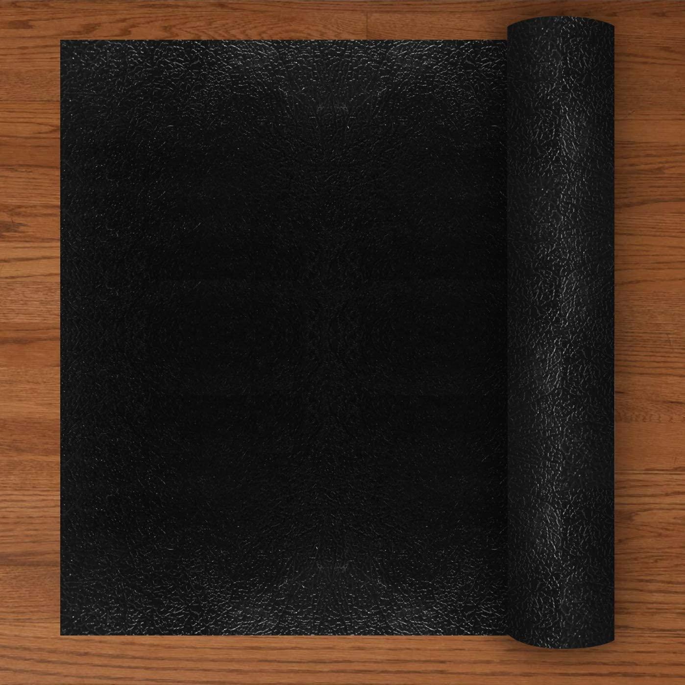Resilia - Deluxe Black Vinyl, Plastic Floor Runner/Protector for Hardwood Floors - Non-Skid, Textured Pattern, (27 Inches Wide x 12 Feet Long)