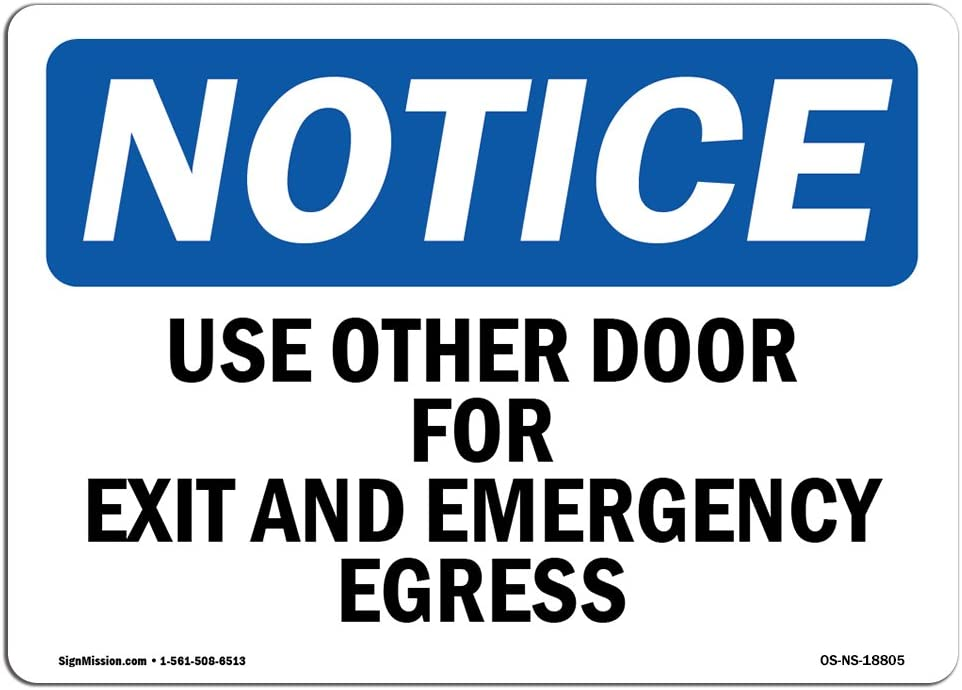 OSHA Notice Sign - Use Other Door For Exit And Emergency Egress | Choose from: Aluminum, Rigid Plastic or Vinyl Label Decal | Protect Your Business, Work Site, Warehouse & Shop Area |  Made in the USA