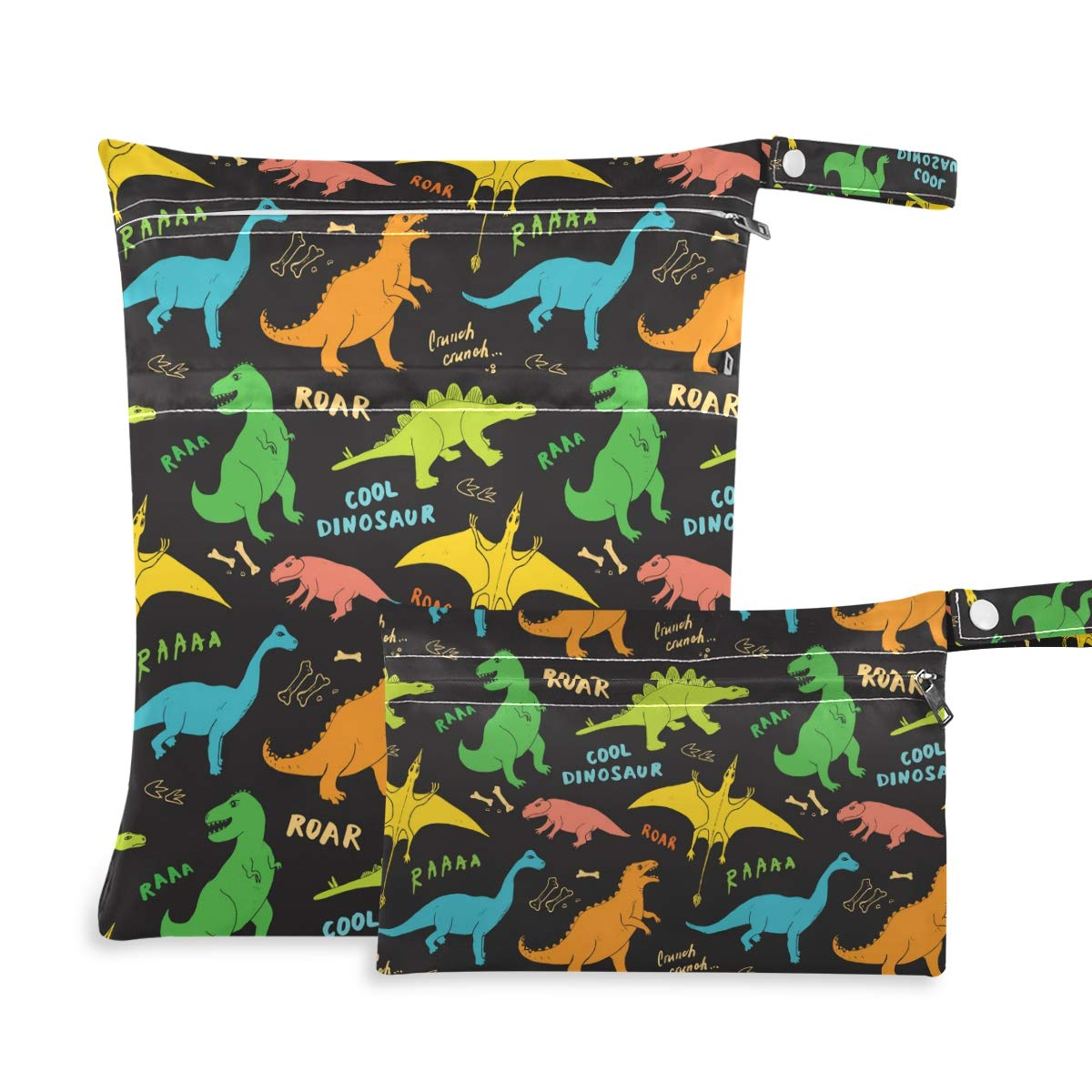 Moudou 2pcs Dinosaur Wet Dry Bag Waterproof Reusable Baby Cloth Diaper Wet Dry Organizer with Two Zippered Pockets for Travel, Beach, Pool, Stroller, Diapers, Dirty Gym Clothes, Wet Swimsuits
