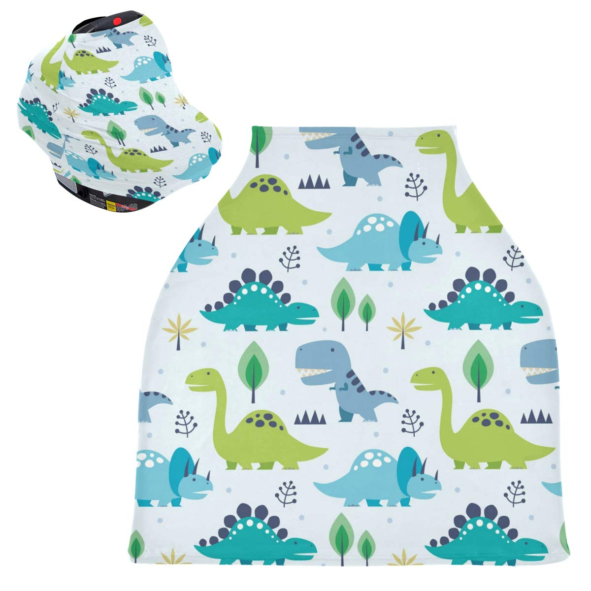 Baby Carseat Cover Canopy Breastfeeding Cover - Dinosaurs Nursing Cover Blanket Breathable Infant Stroller Cover Baby Shower Gifts for Boy&Girl
