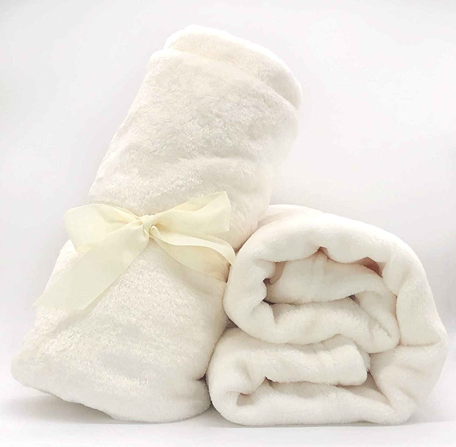 Ultra Soft & Warm Winter Throw Baby Blanket - Premium Coral Fleece for Girls and Boys - 30x40 Inches Super Fluffy and Cozy Flannel Receiving Blanket for Crib, Stroller, Swaddle, Car Seat, Pet (Ivory)