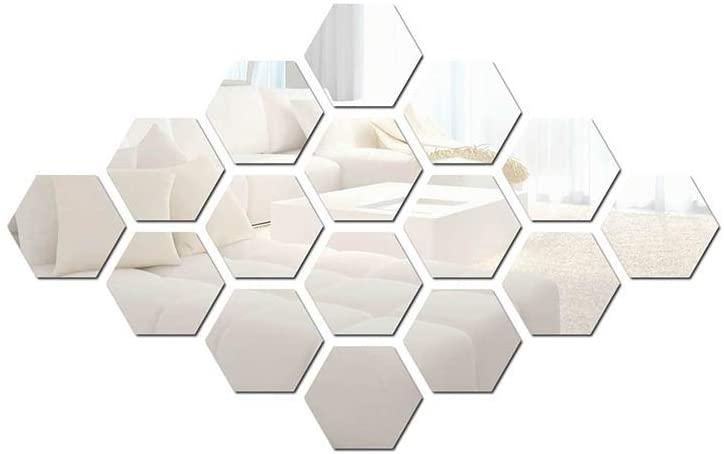 Hexagon Sticker 42 PCS Hexagonal Detachable Mirror Acrylic Wall Sticker Self-Adhesive Six-Sided Home Living Room Bedroom Shop Art Decoration (Large, Silver)