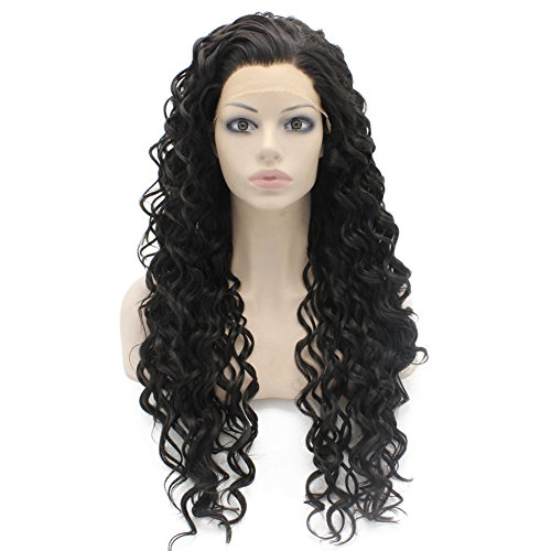 Mxangel Long Curly Lace Front Synthetic Hair Black Celebrity Natural Stylish Wig