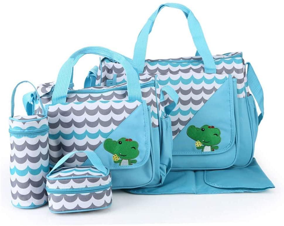 YU-NIYUT Diaper Bag Backpack, 5Pcs/Set Cute Cartoon Animal Baby Diaper Bag Tote Waterproof Organizer Large Capacity Mummy Maternity Nursing Travel One Shoulder Handbag for Mothers, Nurses, Students