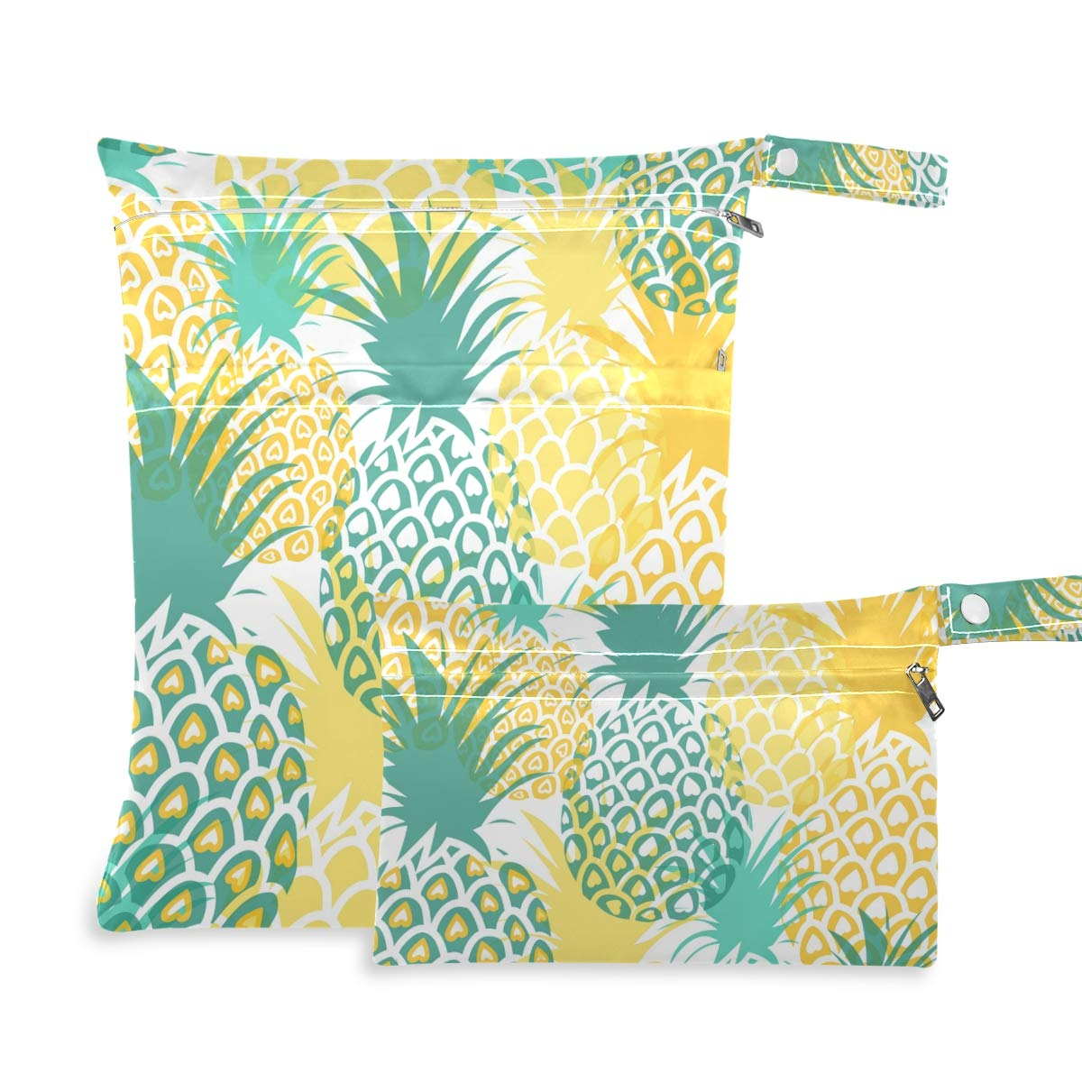Qilmy 2pcs Pineapple Cloth Diaper Wet Dry Bag Waterproof Reusable Wet Dry Organizer with Zipper for Travel, Beach, Pool, Diapers, Gym Clothes, Wet Swimsuits