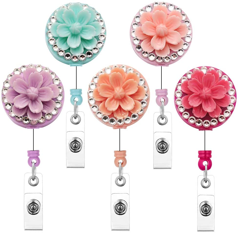 Soleebee 5 Pack 24 Inches Retractable ID Badge Reels with Sakura Bling Crystal Nurse Name Badge Holder with 360° Swivel Alligator Clip