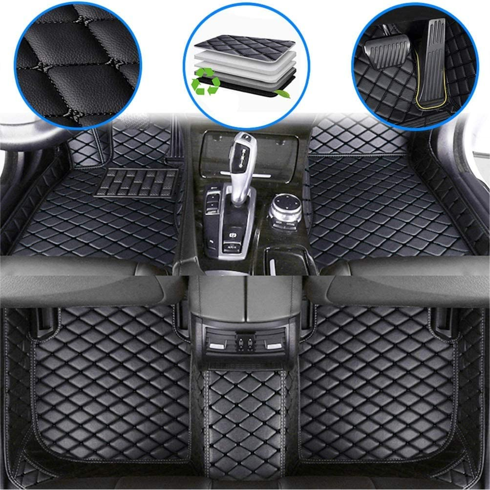 Maiqiken Car Custom Floor Mats for Acura MDX 5Seats 2007-2013 Luxury Leather Waterproof Anti-Slip Full Coverage Liners Complete Set Black