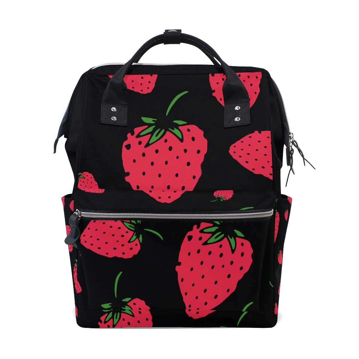 MERRYSUGAR Diaper Bag Backpack Travel Bag Large Multifunction Waterproof Black Strawberry Stylish and Durable Nappy Bag for Baby Care School Backpack