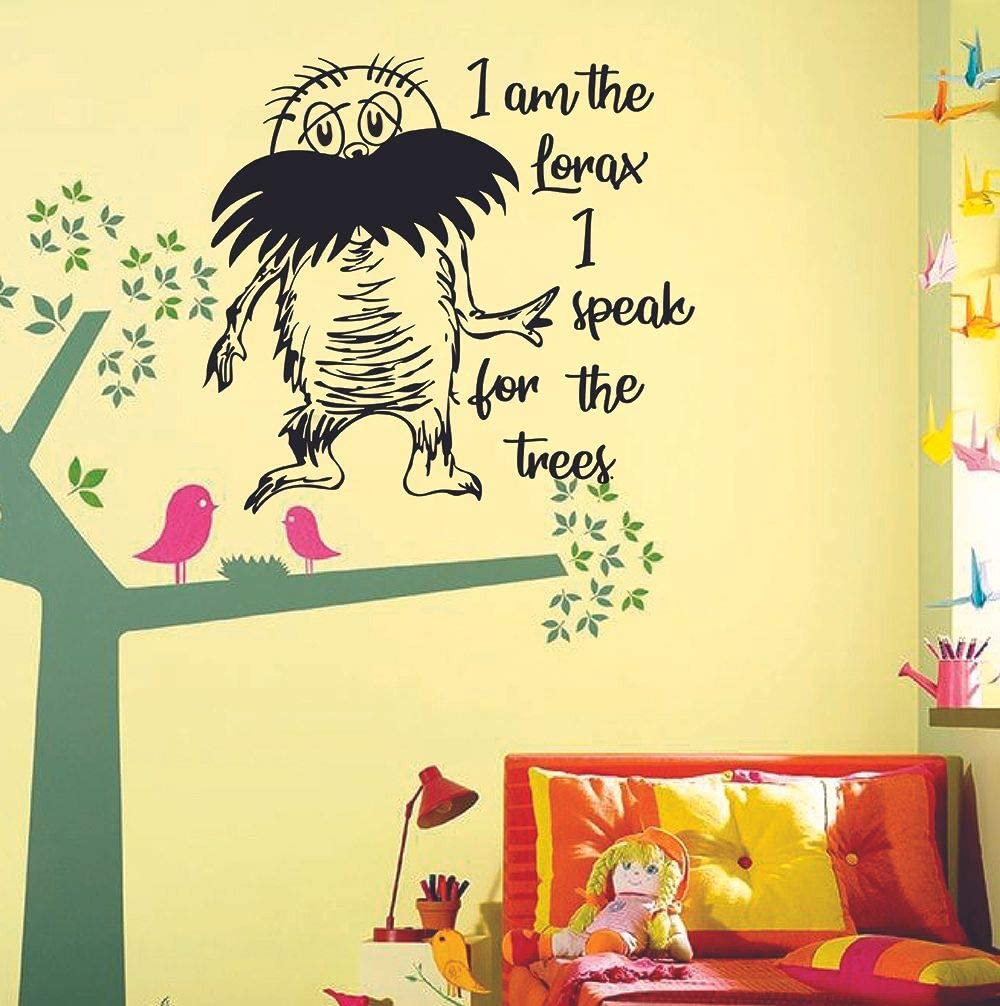 I Speak for The Trees - Lorax Quotes Dr. Seuss Wall Sticker Art Decal for Girls Boys Kids Room Bedroom Nursery Kindergarten House Fun Home Decor Stickers Wall Art Vinyl Decoration Size (10x10 inch)