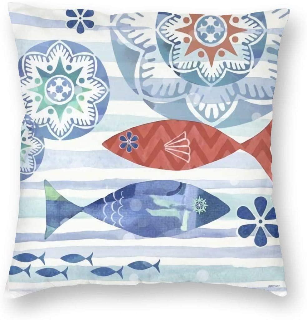 niBBuns Ocean Park Theme Throw Pillow Case, Sea Turtle Octopus Fishes Retro Square Throw Pillow Case Decorative Cushion Cover Pillowcase Blue Ocean Series Sea Life 18x18 Inch - Two Fishes