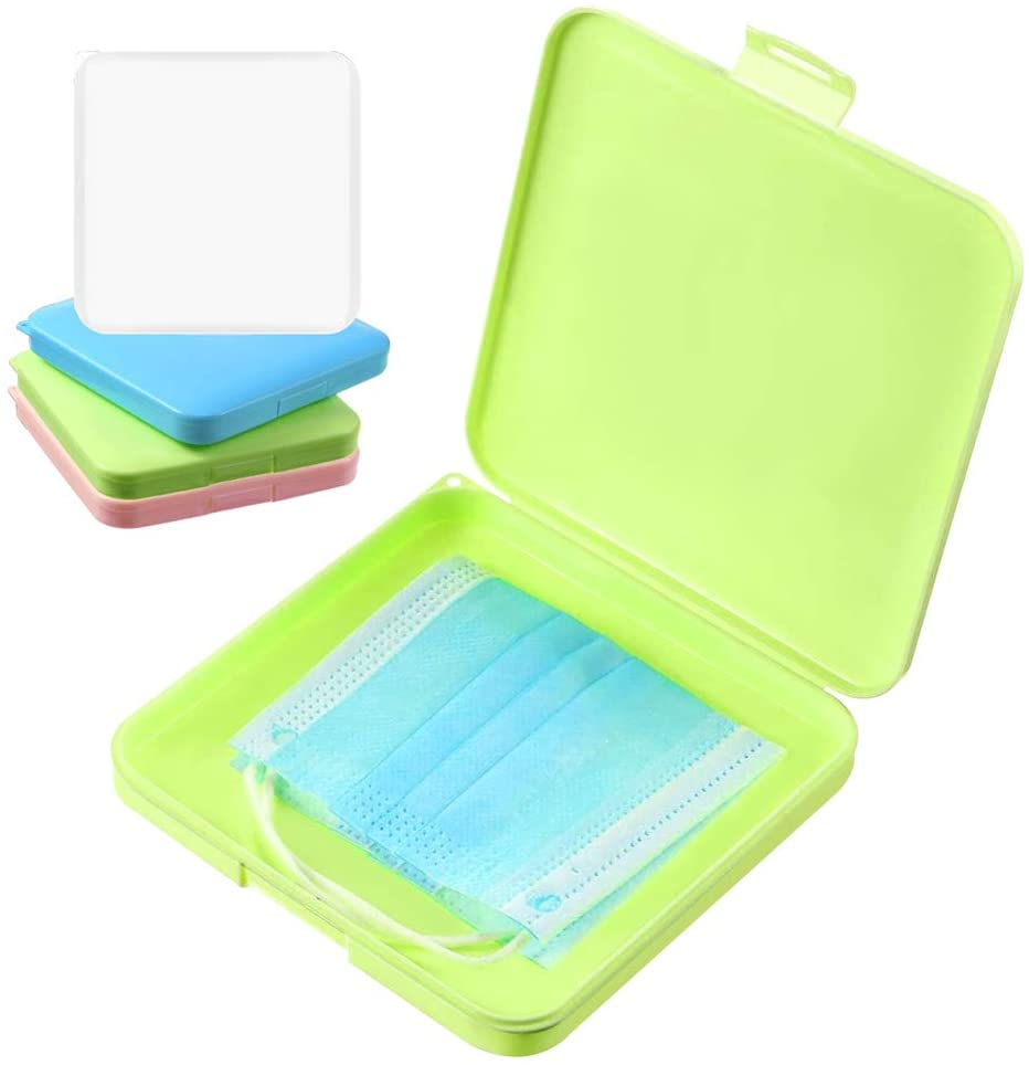 4 Pieces Face Mouth Cover Storage Boxes, Folder Portable Face Masks Organizer Reusable Face Cover Keeper Containers for Face Covering