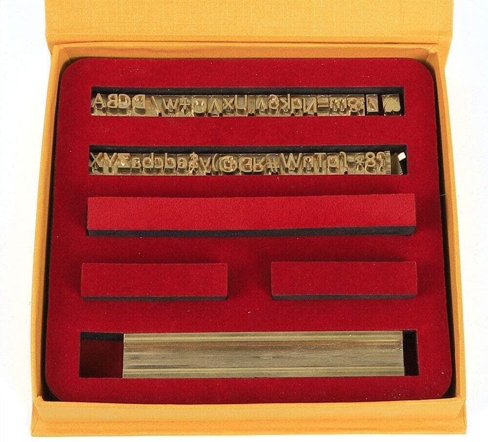 Font Mold Kit DIY Stamping T-Slot Brass Mold Number Letter Character Font Mold Set for Hot Foil Stamping Embossing Machine, 52 Alphabet Letters 10 Numbers 20 Symbols Leather Stamp Moulds Dies