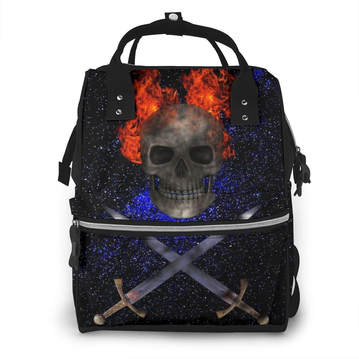 Galaxy Pirate Skull Flame Night Large Capacity Diaper Nappy Travel Nursing Bag Mummy Mom Backpack Laptop Multi-Function for Baby Care Women Family