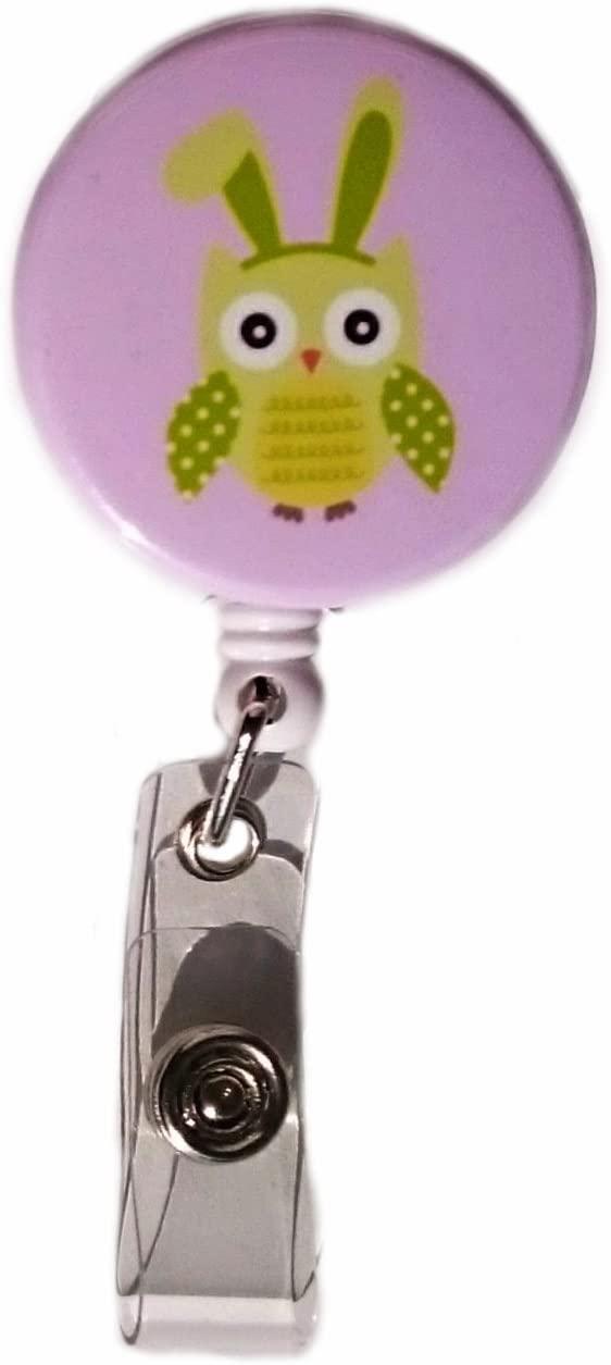 Easter Owl Retractable Badge Reel ID Badge Holder (Green)