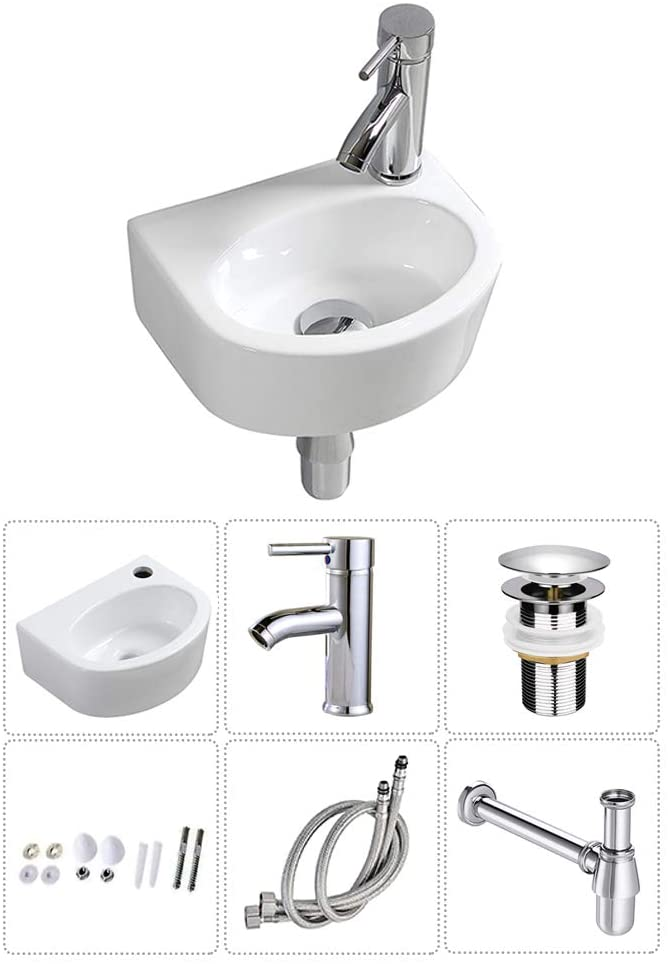 Wall Hung Basin Sink Small Cloakroom Basin Rectangle Ceramic Wash Basin Right Hand (Oval Sink Set (with Tap&Drain))