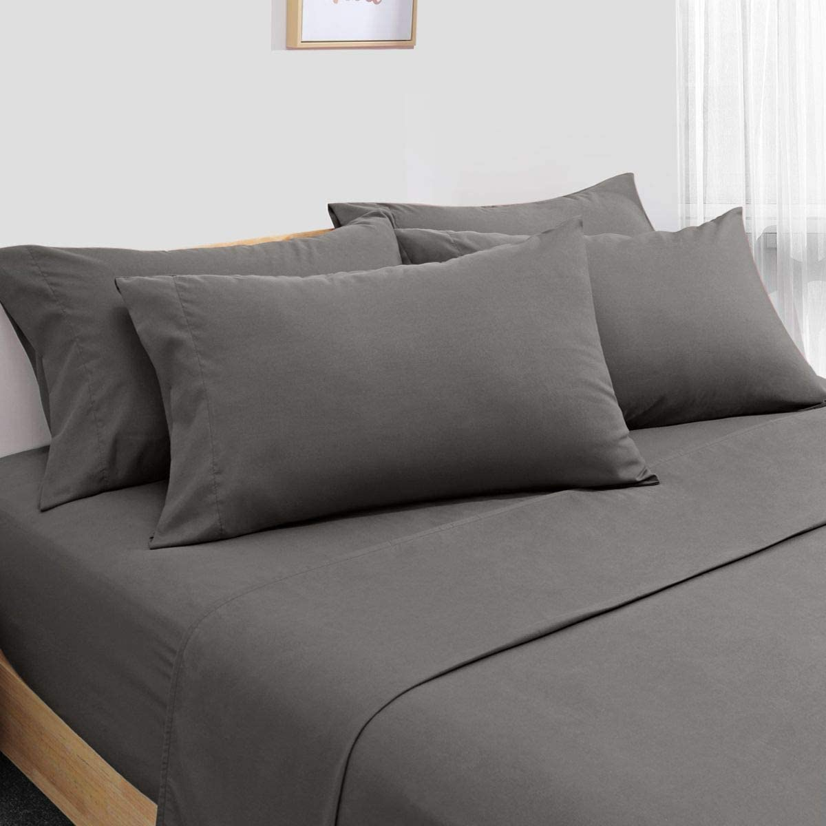 HOMEIDEAS 6 Piece Bed Sheets Set Extra Soft Brushed Microfiber 1800 Bedding Sheets Deep Pocket, Wrinkle & Fade Free (King,Deep Gray)