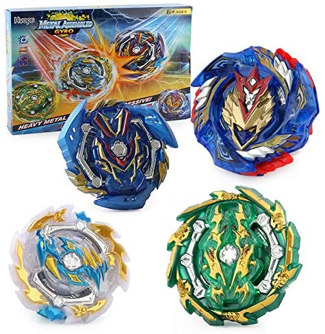 KHONG-158-8-Bey Battle Battling Tops Burst Gyro Evolution Attack Set with 4D Launcher Grip Starter and Stadium