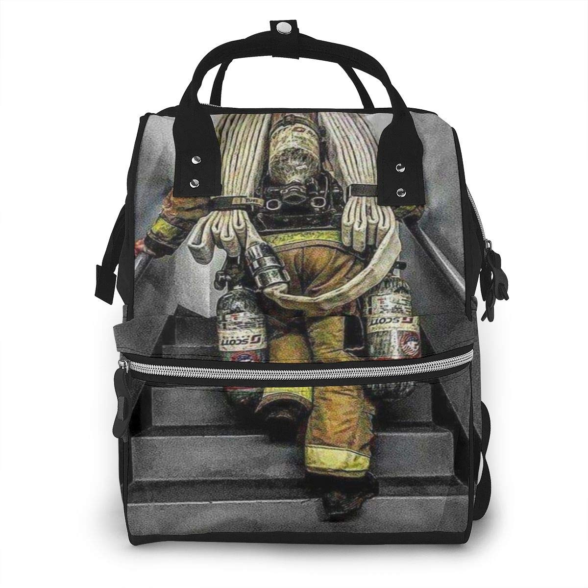 Firefighter Firefighting Diaper Bag Backpack Waterproof Multi-Function Baby Changing Bags Maternity Nappy Bags Durable Large Capacity for Mom Dad Travel Baby Care