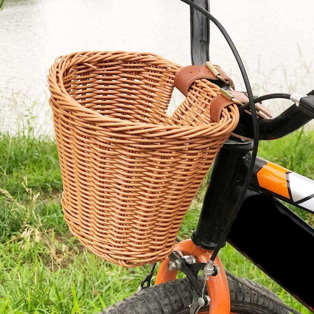 Bike Kids for Basket Accessories Girls Seat Scooter Baskets -Kids Front Handlebar Bike Basket Kids Woven Bike Basket for Boys and Girls- Bicycles