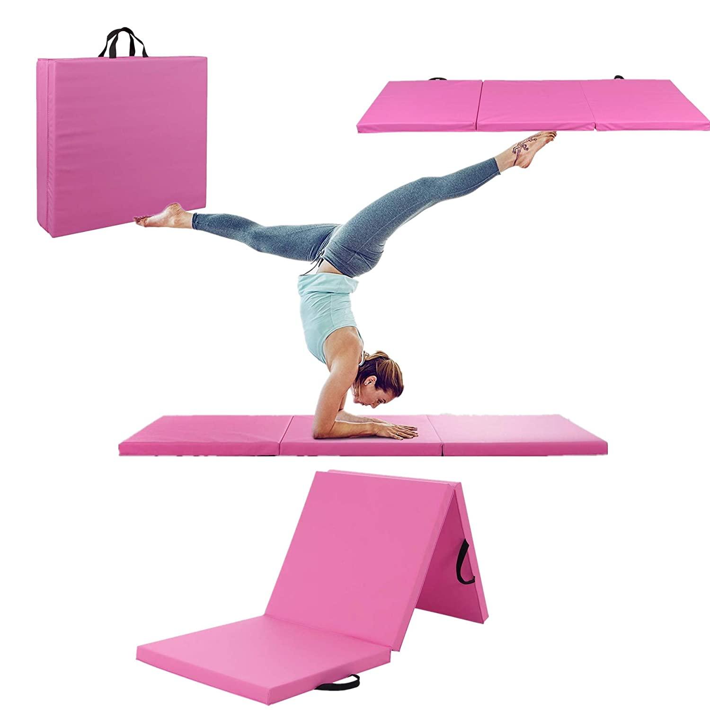 Gymnastics Mat, Folding Anti-Tear Gymnastics Panel Mats w/Carrying Handles, Hook and Loop Fastener, Lightweight Tumbling Mat, Folding Gymnastics Mats for Home Fitness, MMA, Aerobics (Pink)