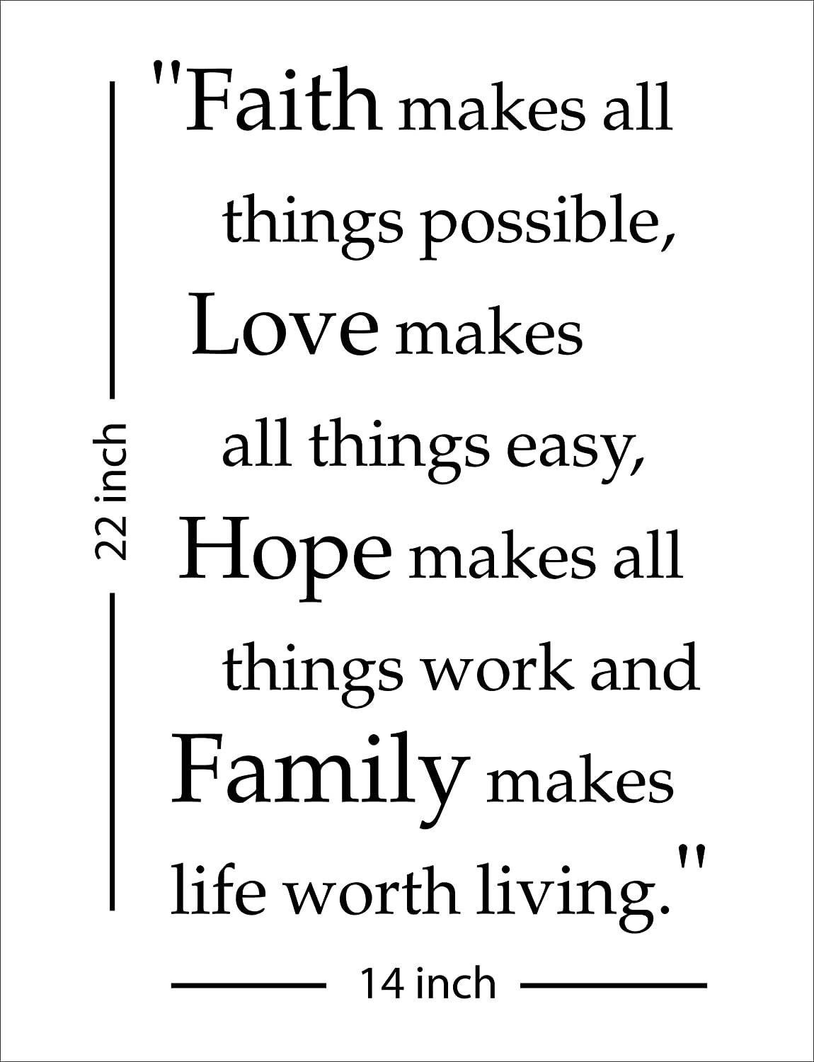 Fabulous Decor Home Decor Faith Makes All Things Possible, Love Makes All Things Easy, Hope Makes All Things Work and Family Makes Life, Be Strong, Do not be Afraid (Faith, Black)