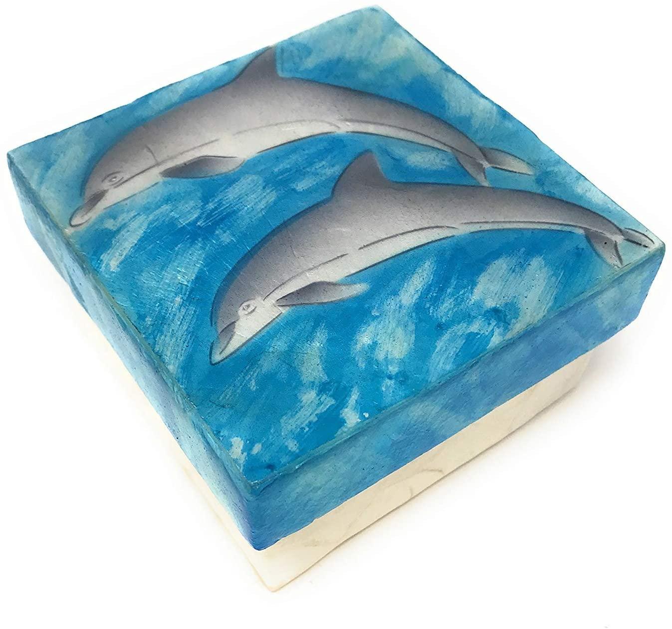 Kubla Craft Capiz Shell Pair of Dolphins Keepsake Box, 3 Inches Square