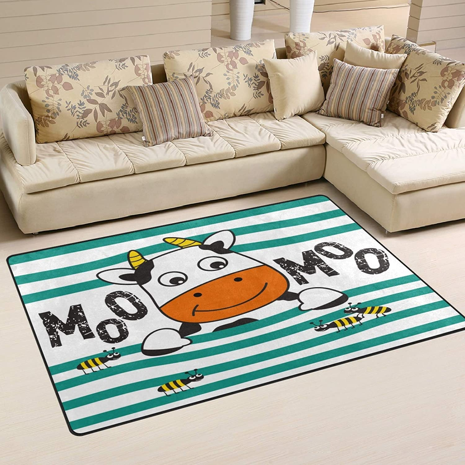 ALAZA Cow Playing with Ant Funny Animal Cartoon Non Slip Area Rug 2 x 3, Modern Floor Rugs Mat for Living Room Bedroom Dinning Room Home Decor