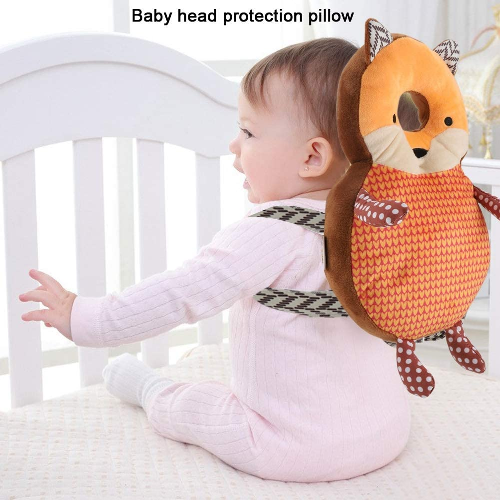 sjlerst Good Resilience Baby Protection Cushion, Baby Head Shaping Pillow Healthy Premium PP Cotton for Creeping Learning Walking(Orange Fox)