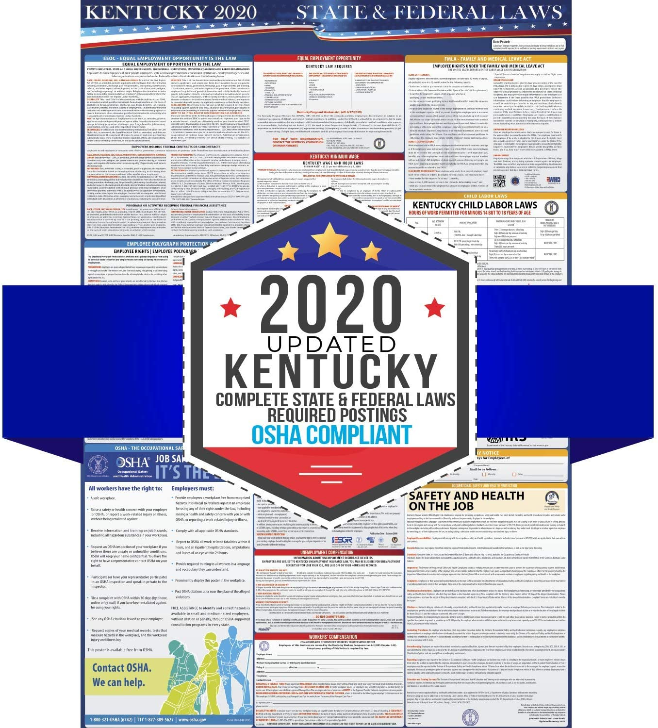 2020 Kentucky State and Federal Labor Laws Poster - OSHA Workplace Compliant 24